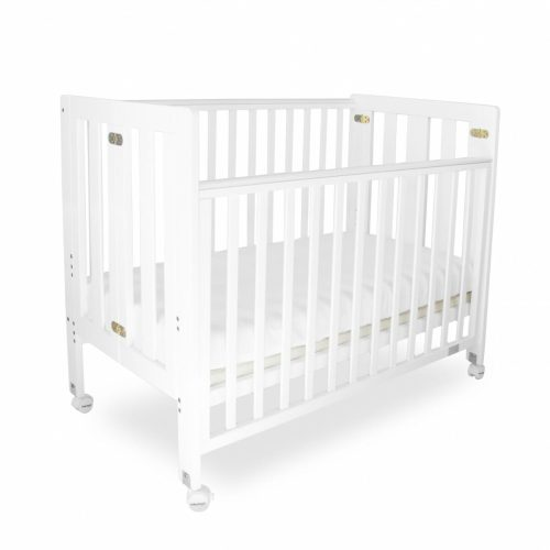 Babyhood Fold N Go Folding Cot White Cot Dropside