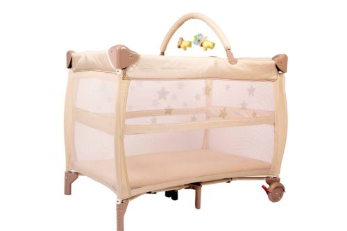 Babyhood Bambino Dormire Portacot Latte with Optional Toy Bar