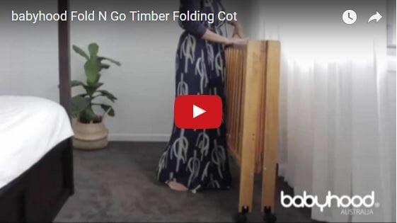 babyhood timber folding cot video