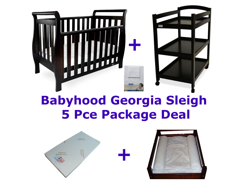 Babyhood Georgia Sleigh Cot 5 Pce Package Deal English Oak