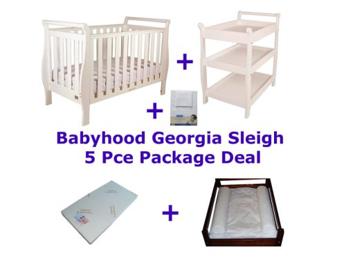 Babyhood Georgia Sleigh Cot 5 Pce Package Deal White