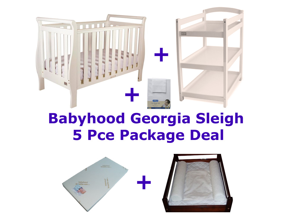 Babyhood Georgia Sleigh Cot 5 Pce Package Deal