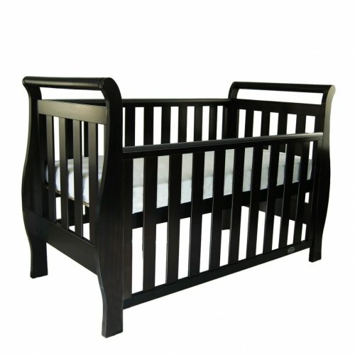 Babyhood Georgia Sleigh Cot English Oak Bassinet Drop Side Down