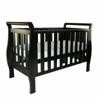 Babyhood Georgia Sleigh Cot English Oak Bassinet Drop Side Up