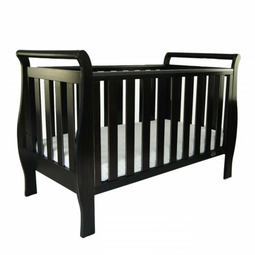 Babyhood Georgia Sleigh Cot English Oak Cot Level Drop Side Up