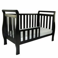 Babyhood Georgia Sleigh Cot English Oak Toddler Bed and Toddler Rail