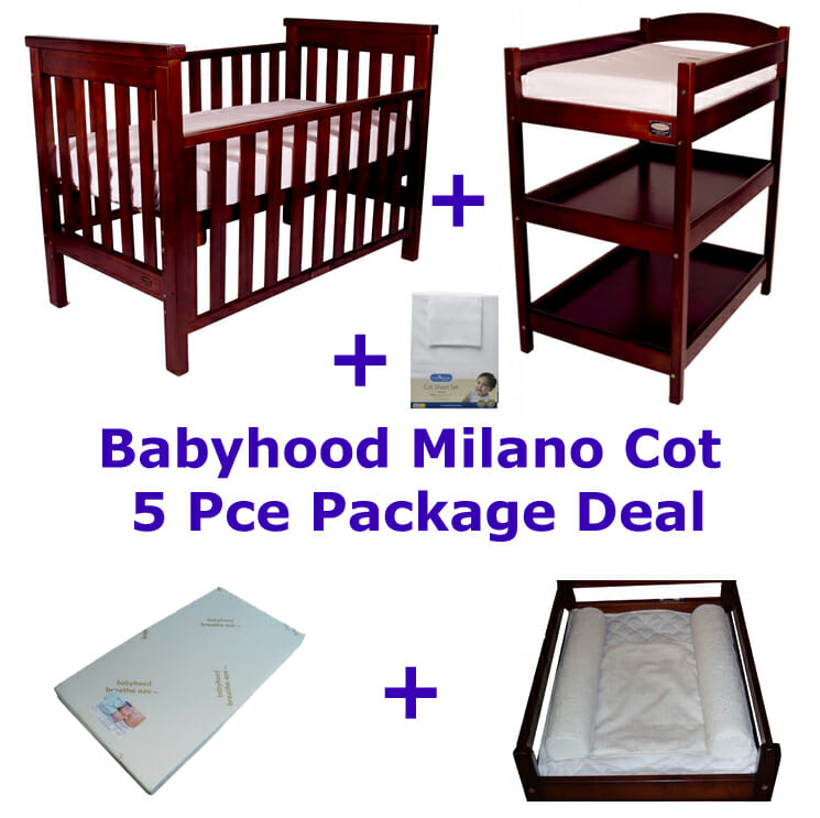 Babyhood Milano Cot 5 Pce Package Deal Walnut