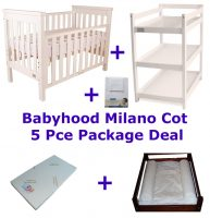 Babyhood Milano Cot 5 Pce Package Deal White