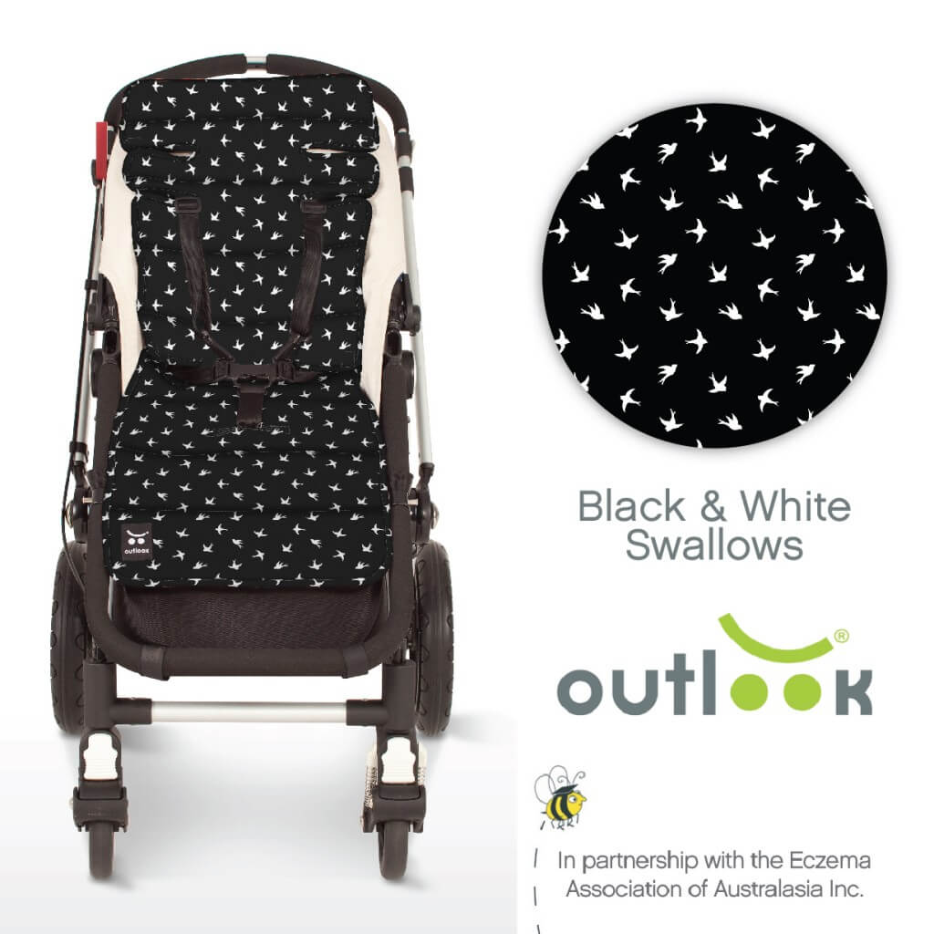 Outlook Cotton Pram Liner Black and White Swallows