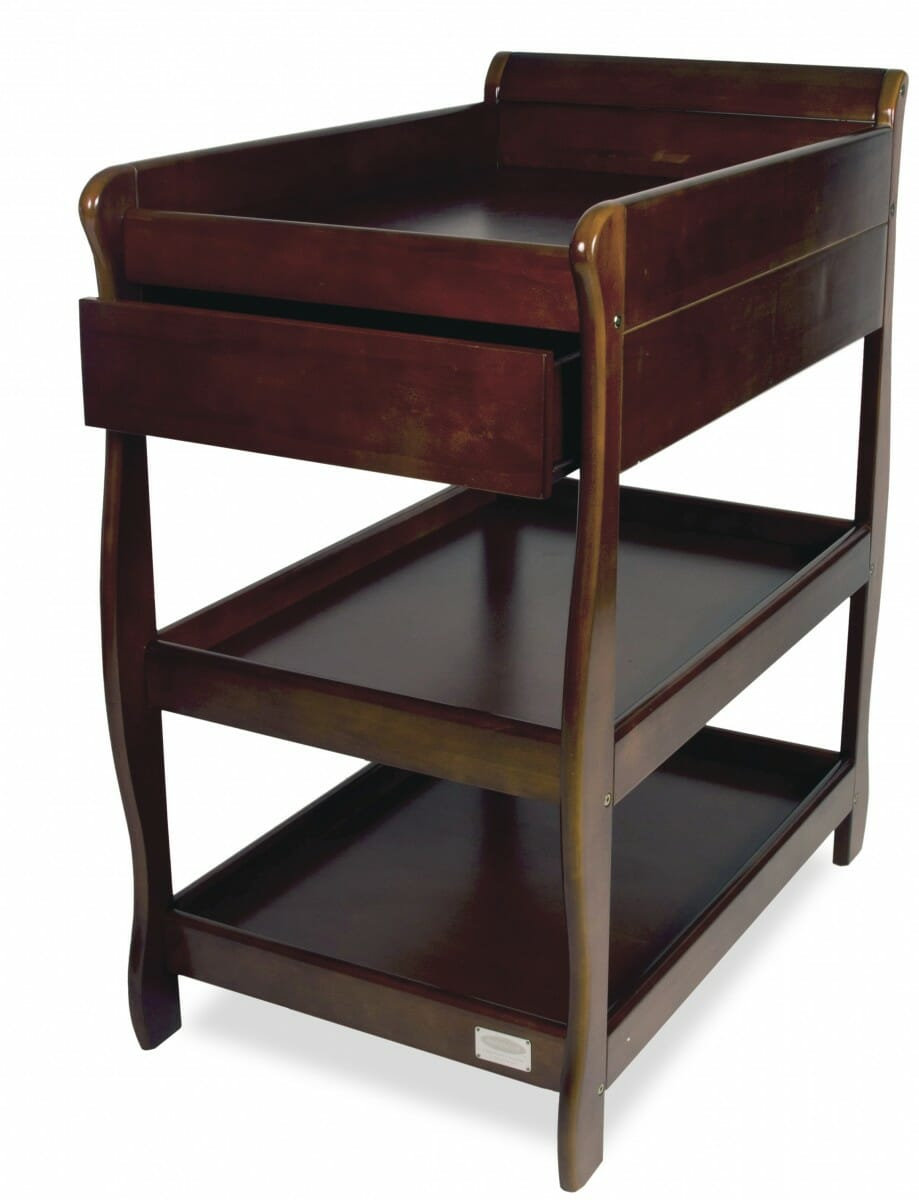 babyhood Sleigh Change Table With Draw Walnut Open