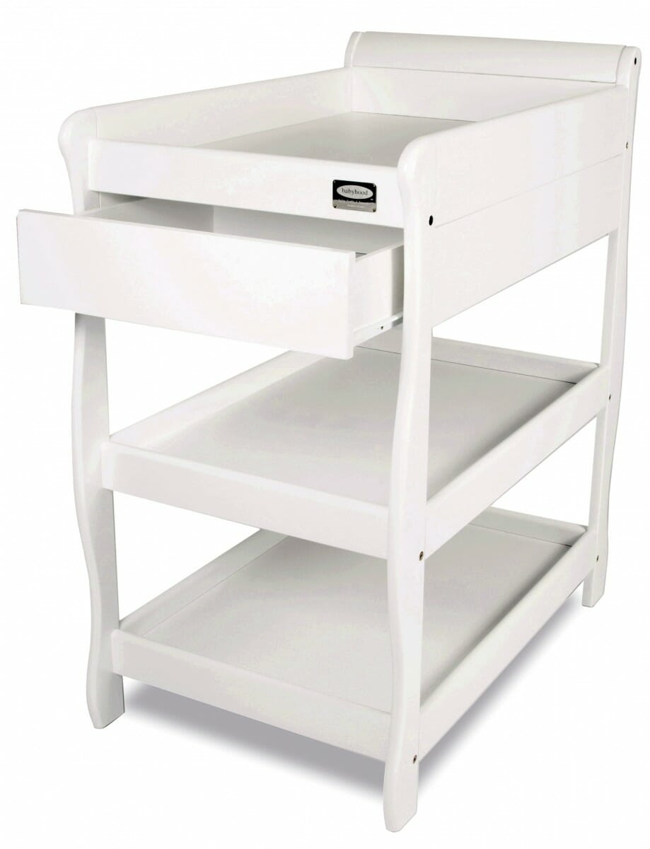 babyhood Sleigh Change Table With Draw white open