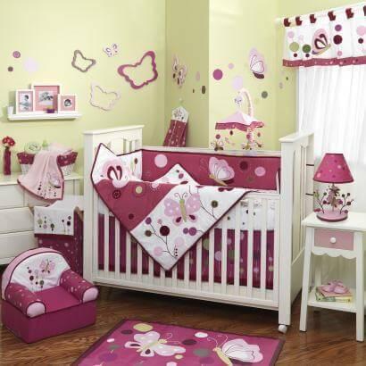 Lambs & Ivy Raspberry Swirl 6 Piece Baby Bedding Set
