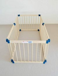 Wooden Hexagonal Playpen condigured as rectangle