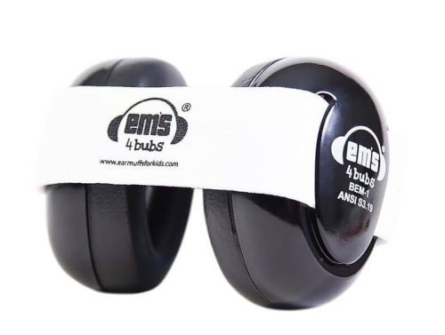 Em's 4 Bubs Black Baby Earmuffs - White