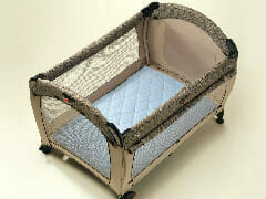 Quilted Travel Cot Padded Sheet Blue