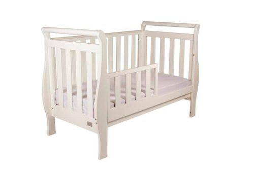 Babyhood Georgia Sleigh Cot White Toddler Bed