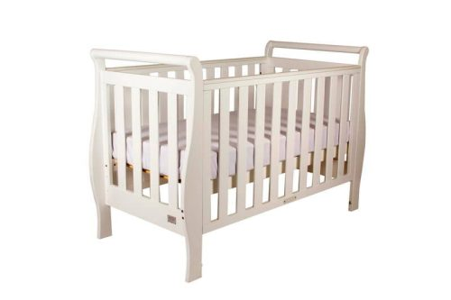 Babyhood Georgia Sleigh Cot White Bassinet Level