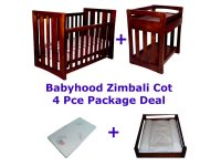 Babyhood Zimbali Cot Package Deal 4 Pce Espresso