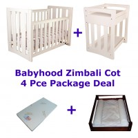 Babyhood Zimbali Cot Package Deal 4 Pce White