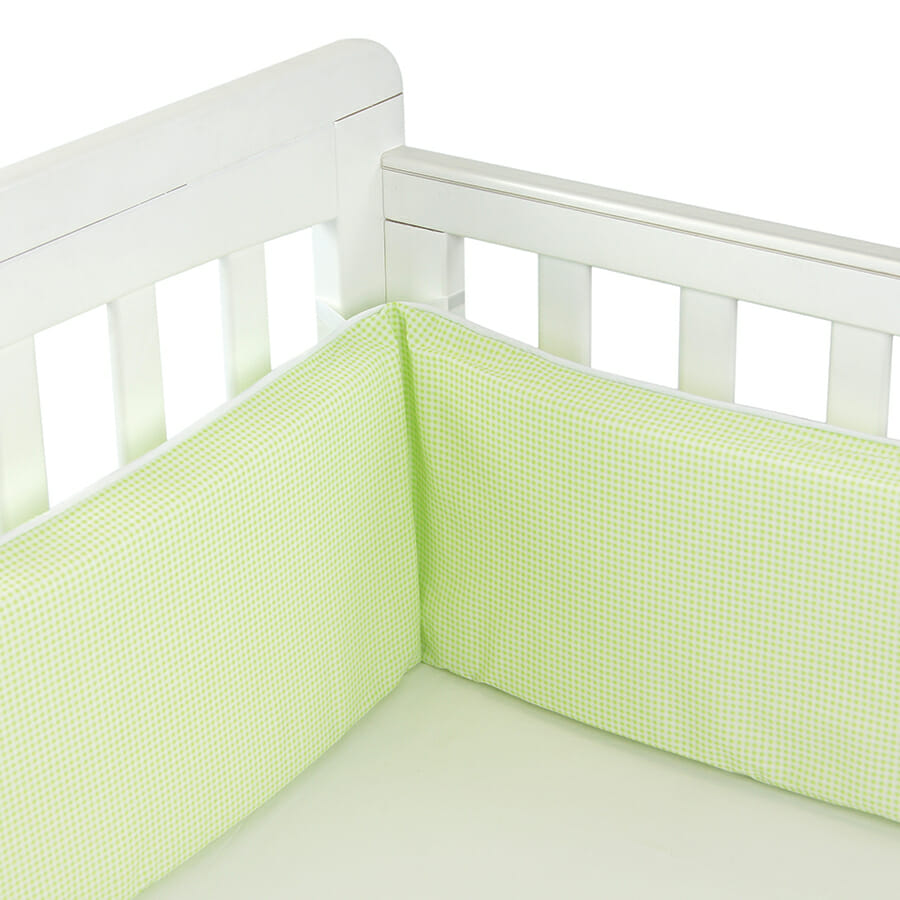 Babyhood Cot Bumper 3 sided Lime Gingham