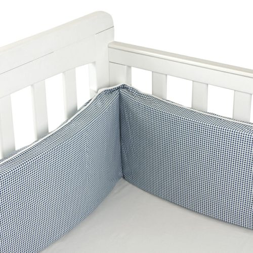 Babyhood Cot Bumper 3 sided Navy Gingham