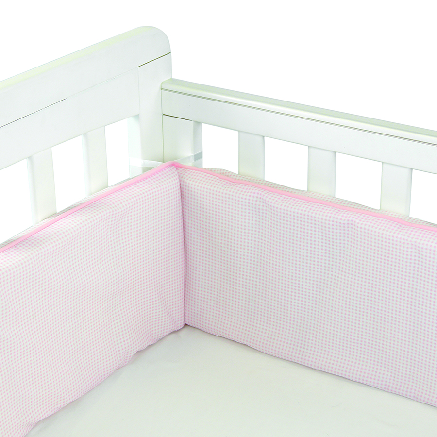 Babyhood Cot Bumper 3 sided Pale Pink Gingham