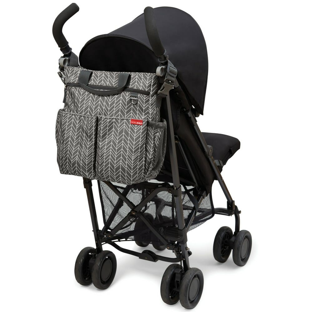Skip Hop Duo Signature Diaper Bag Grey Feather Back of Stroller