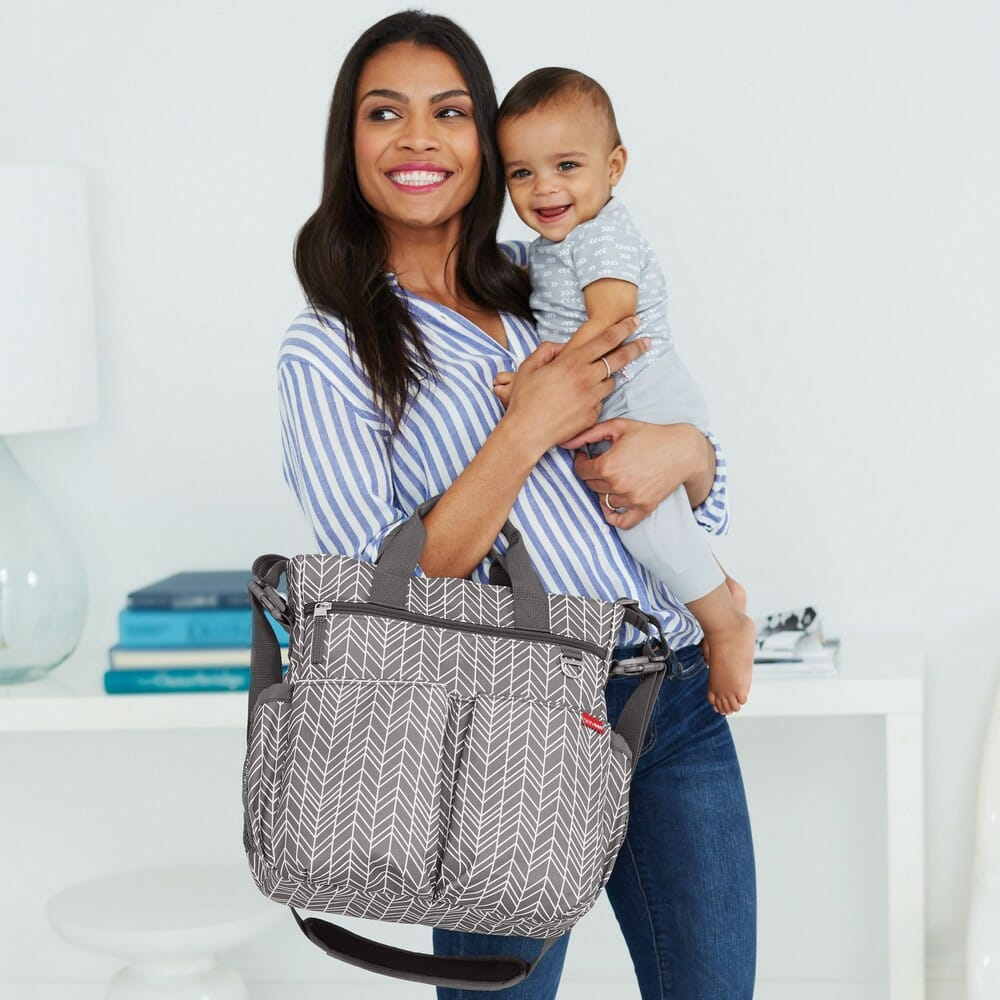 Skip Hop Duo Signature Diaper Bag Grey Feather Lifestyle
