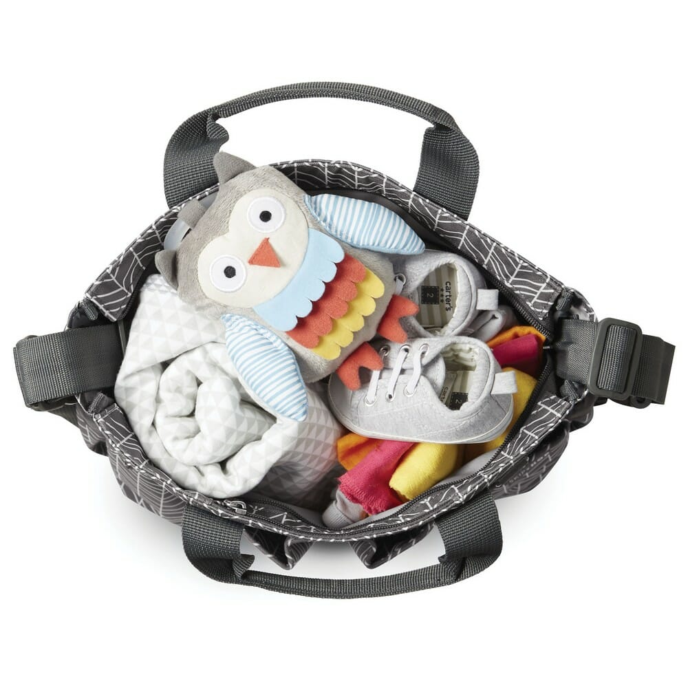 Skip Hop Duo Signature Diaper Bag Grey Feather Top View