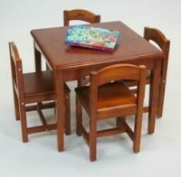 babyhoood Playing Table and 4 Chairs - Cedar
