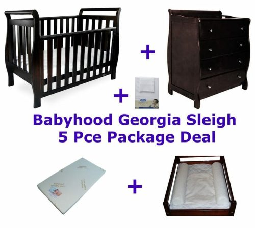 Babyhood Georgia Sleigh Cot 5 Pce Package Deal with Dresser English Oak