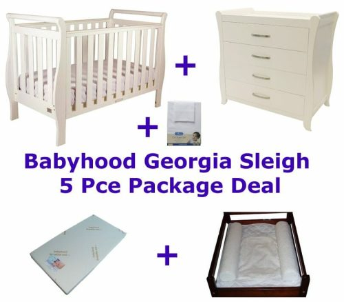 Babyhood Georgia Sleigh Cot 5 Pce Package Deal with Dresser White