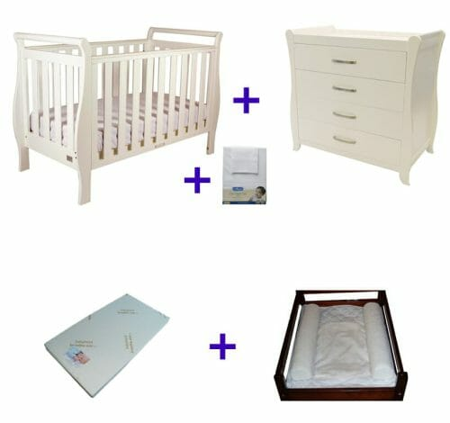 Babyhood Georgia Sleigh Cot 5 Pce Package Deal With Dresser White No Text