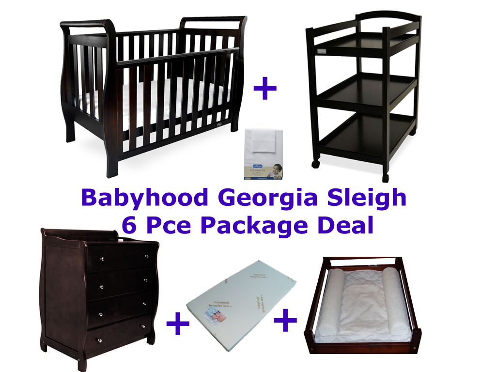 Babyhood Georgia Sleigh Cot 6 Pce Package Deal English Oak