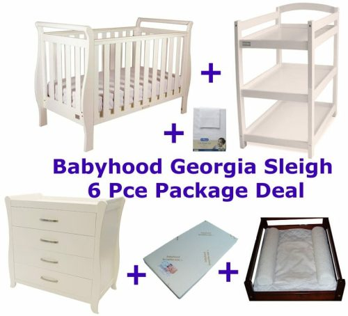 Babyhood Georgia Sleigh Cot 6 Pce Package Deal White