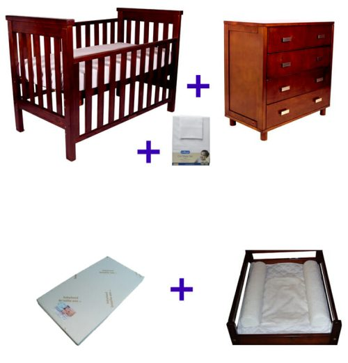 Babyhood Milano Cot 5 Pce Package Deal With Dresser Walnut No Text