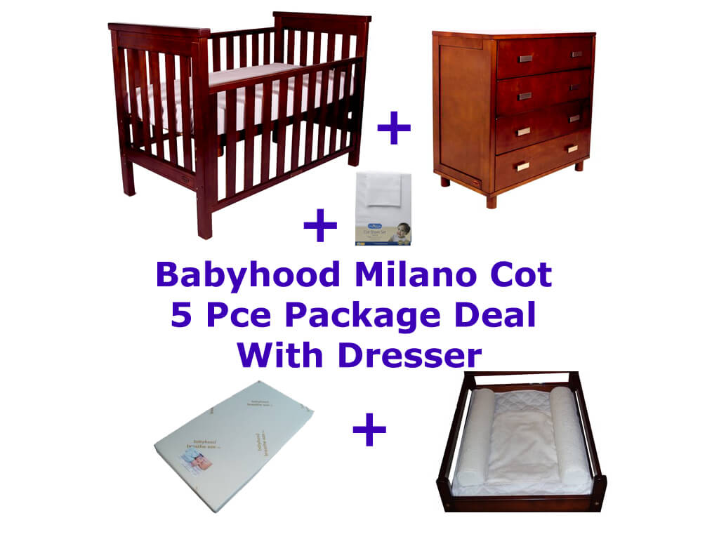 Babyhood Milano Cot 5 Pce Package Deal with Dresser Walnut