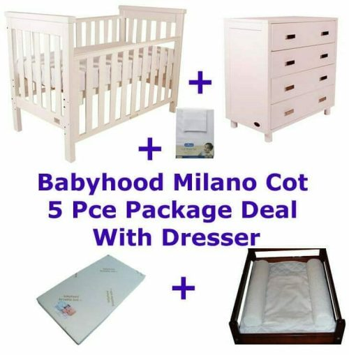 Babyhood Milano Cot 5 Pce Package Deal with Dresser White