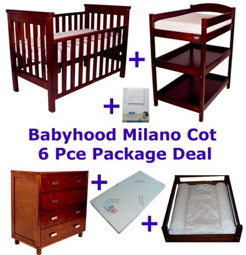Babyhood Milano Cot 6 Pce Package Deal Walnut