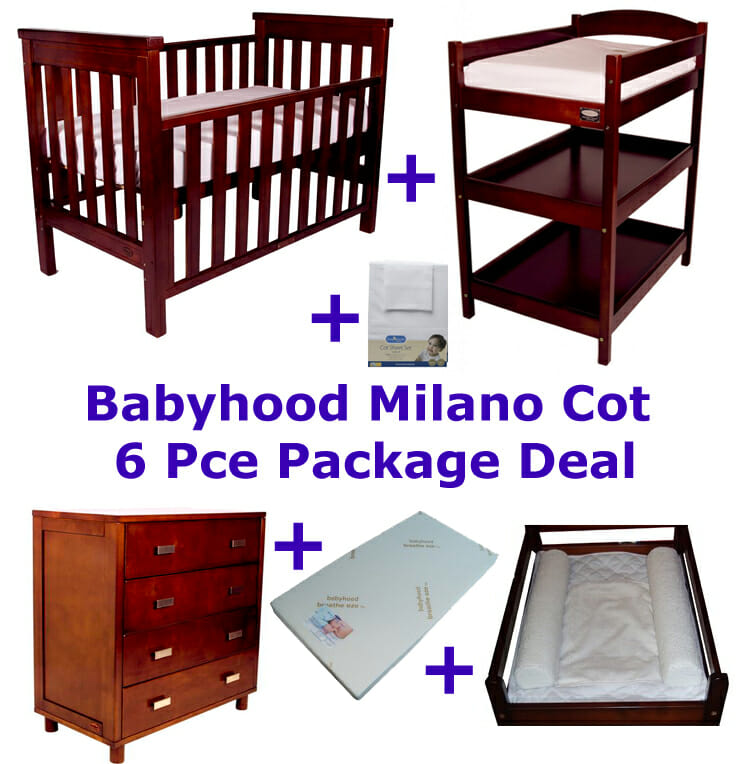 Babyhood Milano Cot 6 Pce Package Deal Walnut
