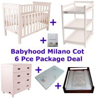 Babyhood Milano Cot 6 Pce Package Deal White