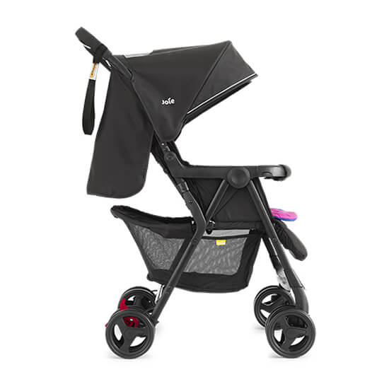 Joie Aire Twin Stroller Pink and Blue Right Foot Rest Down