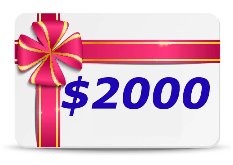 2000 Dollar Bubs n Grubs Gift Certificate