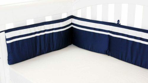 Amani Bebe Breezy Blue Cot Bumper Navy White