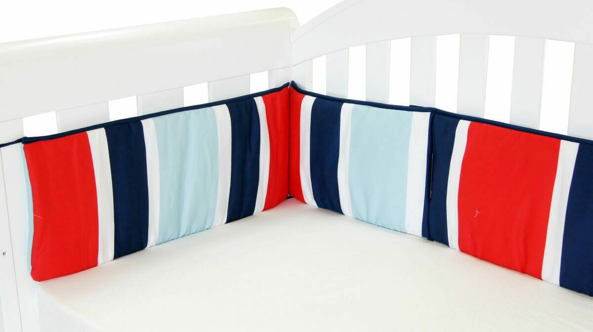 Amani Bebe Breezy Blue Cot Bumper Red Blue