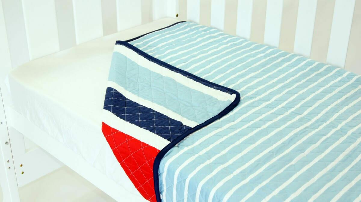 Amani Bebe Breezy Blue Coverlet Red Blue Side A