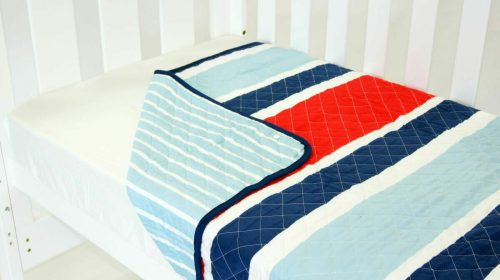 Amani Bebe Breezy Blue Coverlet Red Blue Side B