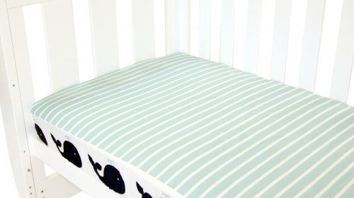 Amani Bebe Breezy Blue Fitted Sheet Whale