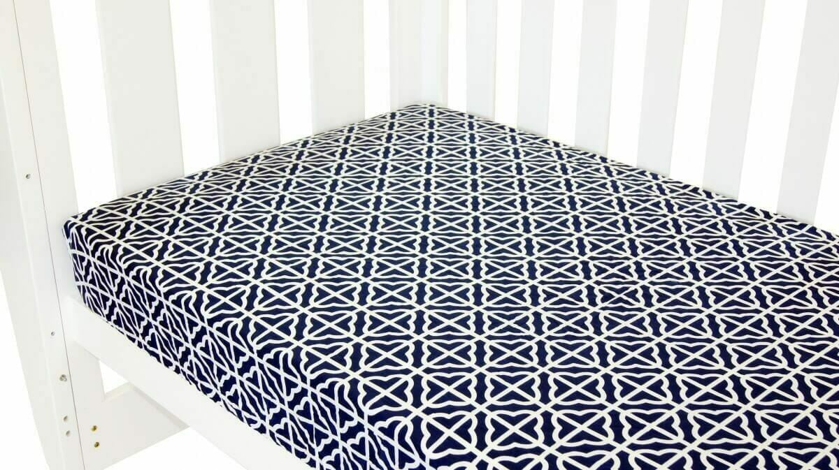 Amani Bebe Breezy Blue Fitted Sheet Navy White