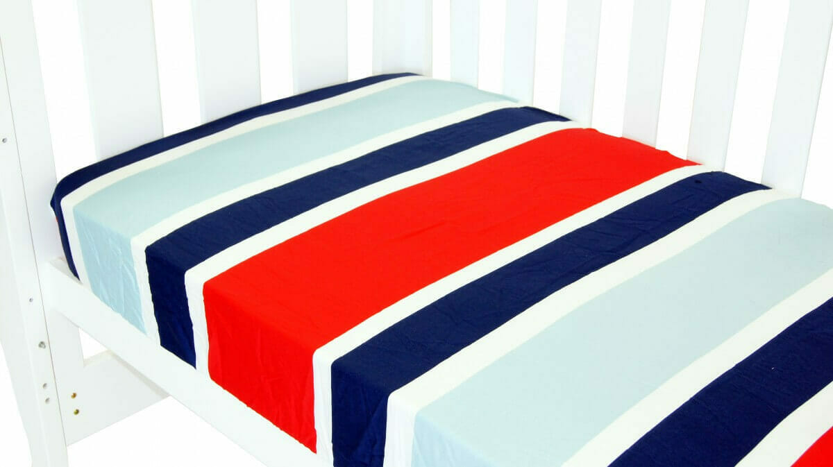 Amani Bebe Breezy Blue Fitted Sheet Red Blue
